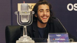 "Salvador Sobral of Portugal smiles as he speaks at a news conference on Saturday after winning the Eurovision Song Contest with his song ""Amar Pelos Dois"" in Kiev, Ukraine."